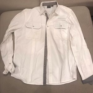 New Armani exchange white button down sz XL
